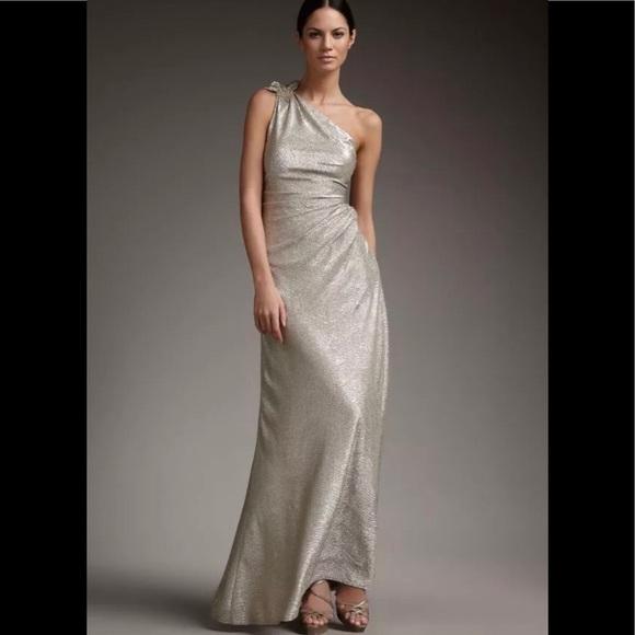 David Meister Dresses | Gold Matelasse One Shoulder Gown | Poshmark